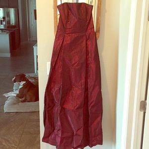 Burgundy, Iridescent, Strapless Prom Dress